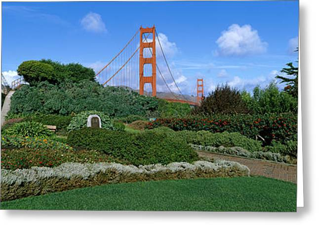 Marin County Greeting Cards - Suspension Bridge, Golden Gate Bridge Greeting Card by Panoramic Images