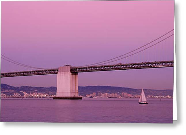 Bay Bridge Greeting Cards - Suspension Bridge Over A Bay, Bay Greeting Card by Panoramic Images