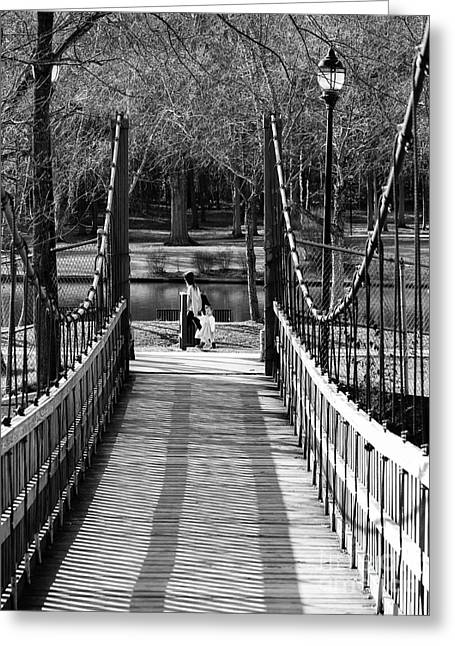 Considerate Greeting Cards - Suspension Bridge Twins Greeting Card by Robert Yaeger