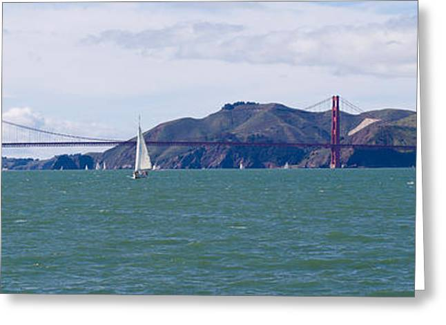 California Ocean Photography Greeting Cards - Suspension Bridge With A Mountain Range Greeting Card by Panoramic Images