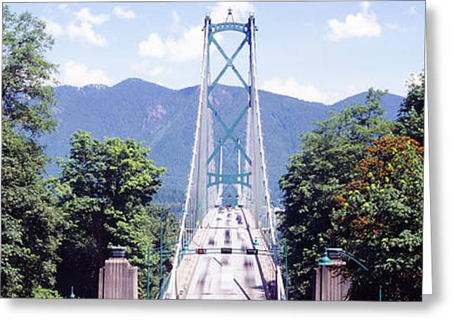 Lions Gate Bridge Greeting Cards - Suspension Bridge With Mountain Greeting Card by Panoramic Images