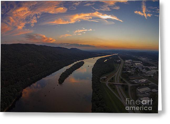 Williamsport Greeting Cards - Susquehanna River Sunset Greeting Card by Tony Cooper