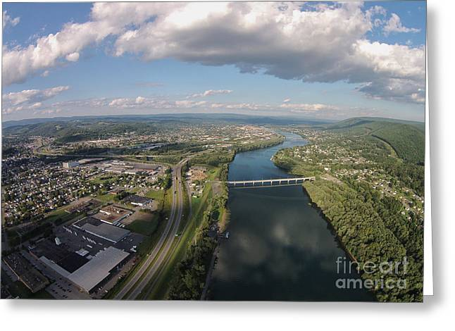 Williamsport Greeting Cards - Susquehanna River Williamsport PA Greeting Card by Tony Cooper
