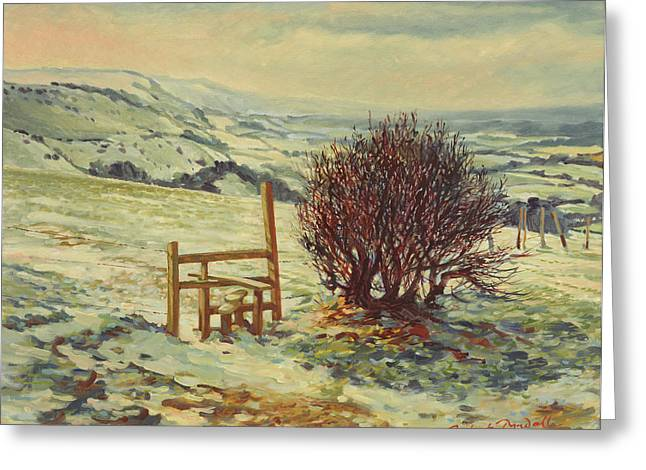 Snow Scene Landscape Greeting Cards - Sussex Stile, Winter, 1996 Greeting Card by Robert Tyndall
