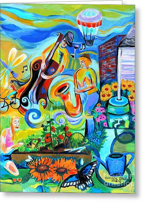 Rain Barrel Greeting Cards - Dogtown Street Musicians Festival Greeting Card by Genevieve Esson