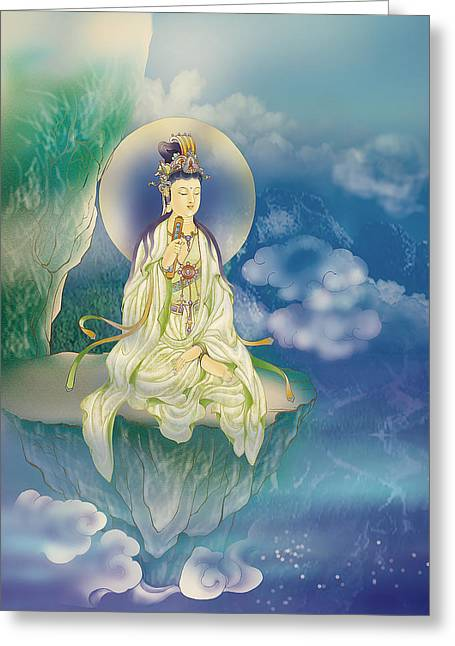Kuan Greeting Cards - Sutra-holding Kuan Yin Greeting Card by Lanjee Chee