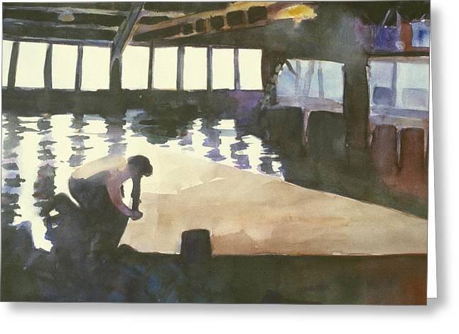 Sausalito Paintings Greeting Cards - Sutter sail loft Greeting Card by Hil Hawken