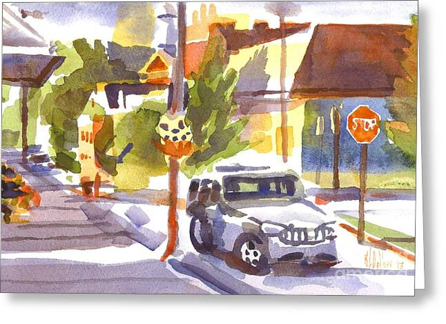 Shadows Cast Greeting Cards - SUV on Main Street Ironton Missouri II Greeting Card by Kip DeVore