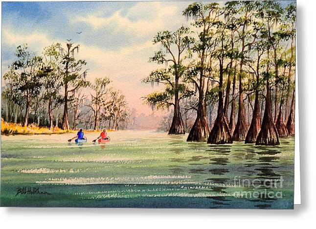 Wildlife Refuge. Paintings Greeting Cards - Suwannee River Greeting Card by Bill Holkham