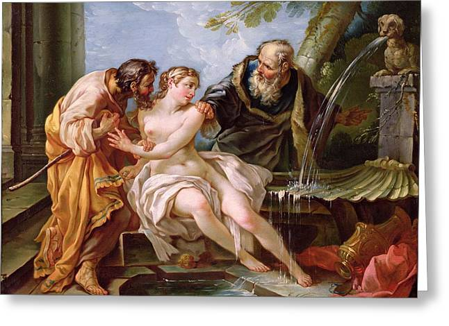 Apocryphal Greeting Cards - Suzanna And The Elders, 1746 Oil On Canvas Greeting Card by Joseph-Marie the Younger Vien