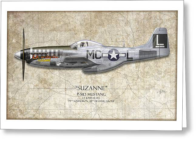 P51 Mustang Greeting Cards - Suzanne P-51D Mustang - Map Background Greeting Card by Craig Tinder