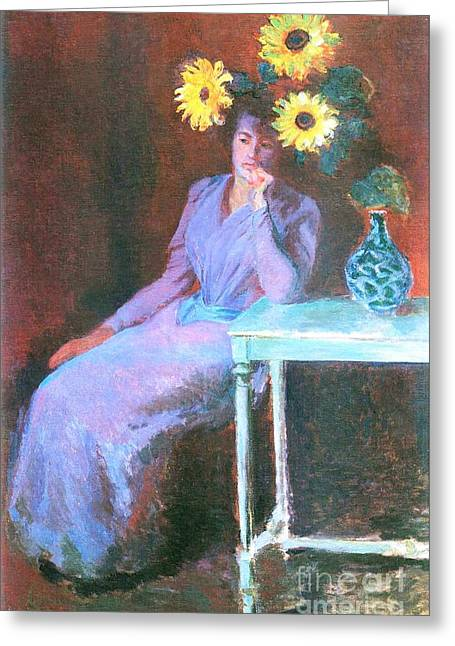 Monet Lady Greeting Cards - Suzanne with Sunflowers Greeting Card by Pg Reproductions