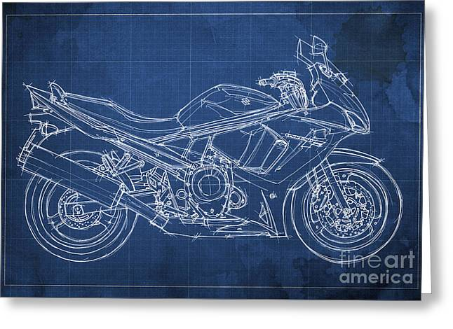 White On Black Greeting Cards - Suzuki GSX 650F 2011 Blueprint Greeting Card by Pablo Franchi