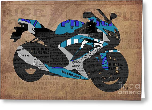 Newspaper Collage Greeting Cards - Suzuki motorcycle and the old newspapers Greeting Card by Pablo Franchi