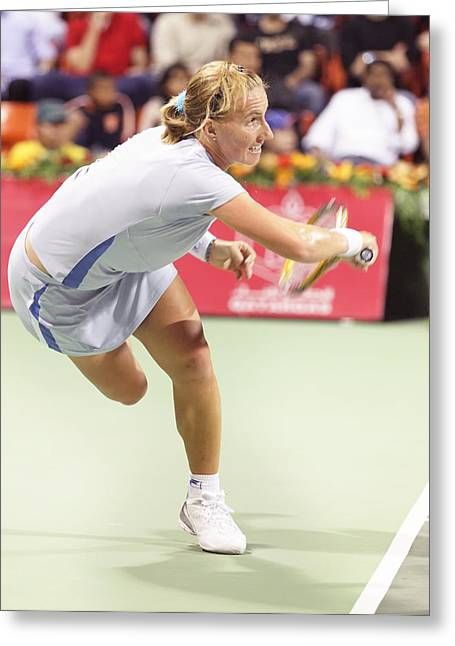 Forehand Greeting Cards - Svetlana Kuznetsova in action Greeting Card by Paul Cowan