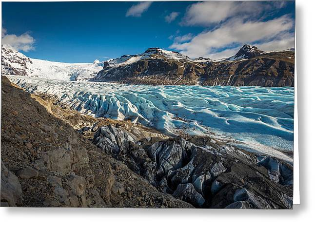 Crevasses Greeting Cards - Svinafellsjokull Glacier In Skaftafell Greeting Card by Panoramic Images