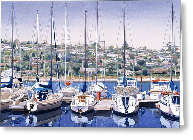 South Beach Greeting Cards - SW Yacht Club in San Diego Greeting Card by Mary Helmreich