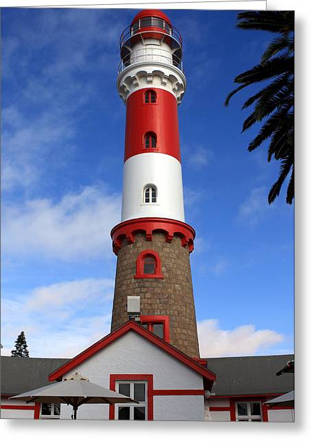 Lost At Sea Greeting Cards - Swakopmund Lighthouse Greeting Card by Aidan Moran