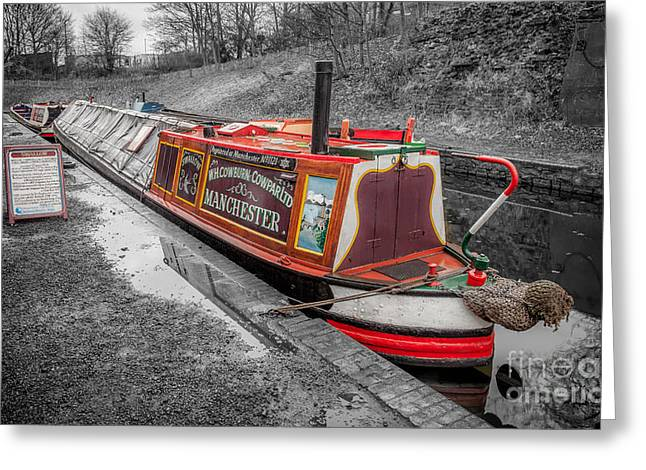 Selective Colouring Greeting Cards - Swallow Canal Boat Greeting Card by Adrian Evans