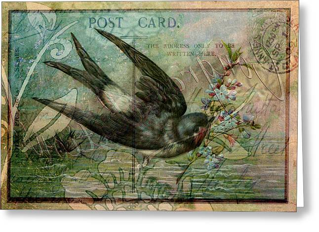 Sarah Vernon Greeting Cards - Swallow with Flowers Greeting Card by Sarah Vernon