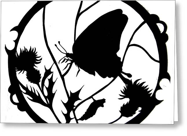 North Fork Mixed Media Greeting Cards - Swallowtail Butterfly Silhouette Greeting Card by Dale Jackson