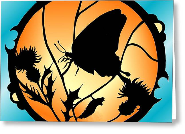 Analogous Greeting Cards - Swallowtail Butterfly Stained Glass Greeting Card by Dale Jackson