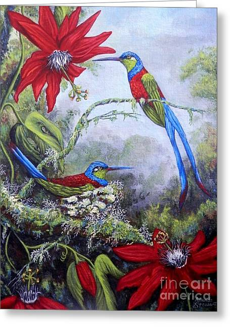 Passion Fruit Paintings Greeting Cards - Swallowtail Hummingbirds Greeting Card by Amanda  Stewart