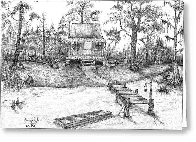 Swamp Drawings Greeting Cards - Swamp Camp Greeting Card by Jimmy Taylor
