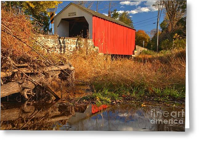 Wite Greeting Cards - Swamp Creek Covered Bridge Reflections Greeting Card by Adam Jewell