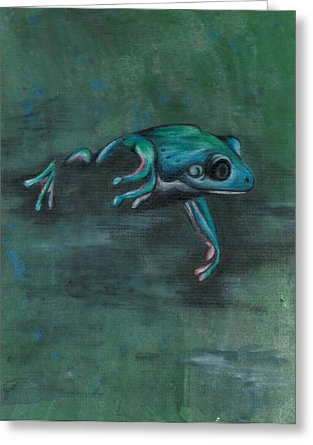 Puddle Mixed Media Greeting Cards - Swamp Frog Greeting Card by Shattered VisAbility