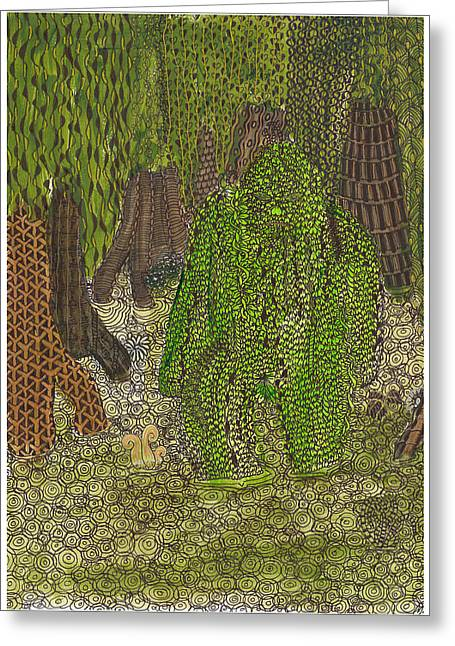 Mound Mixed Media Greeting Cards - Swamp Monster Greeting Card by Rebecca Klingbeil