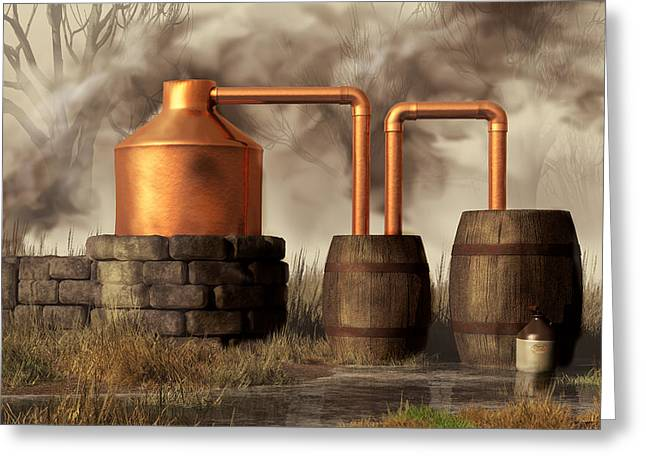 Illegal Greeting Cards - Swamp Moonshine Still Greeting Card by Daniel Eskridge