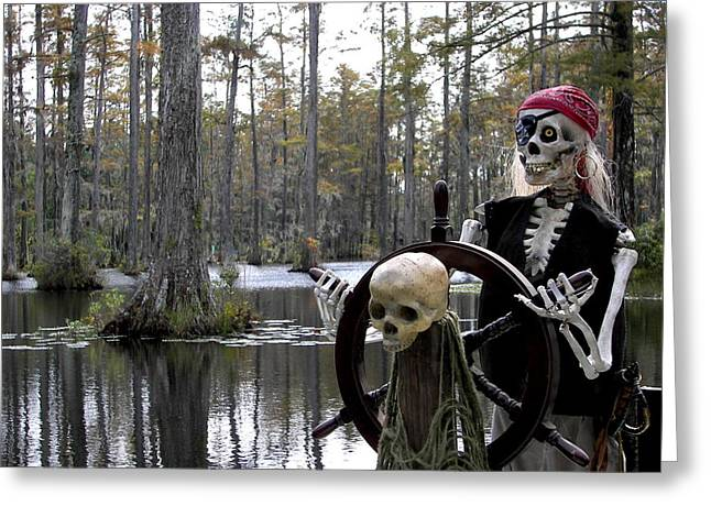 Ahoy Greeting Cards - Swamp Pirate Greeting Card by Karen Wiles