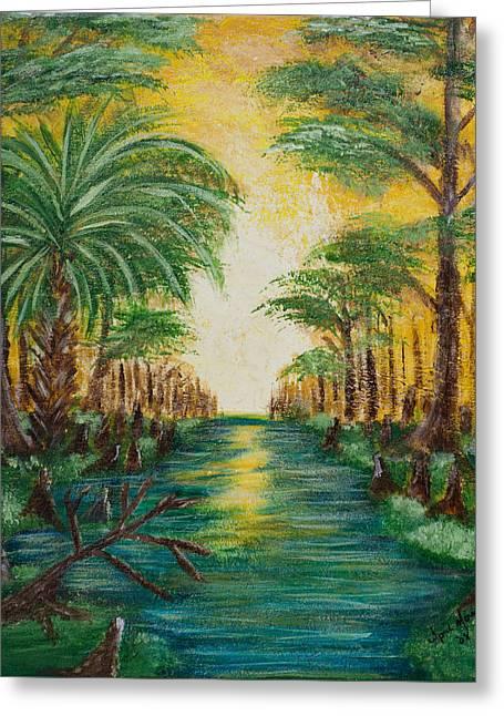 Swamp Sunrise Greeting Card by April Moran
