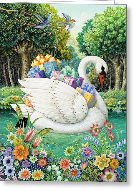 Birthday Present Greeting Cards - Swan Boat Greeting Card by Lynn Bywaters