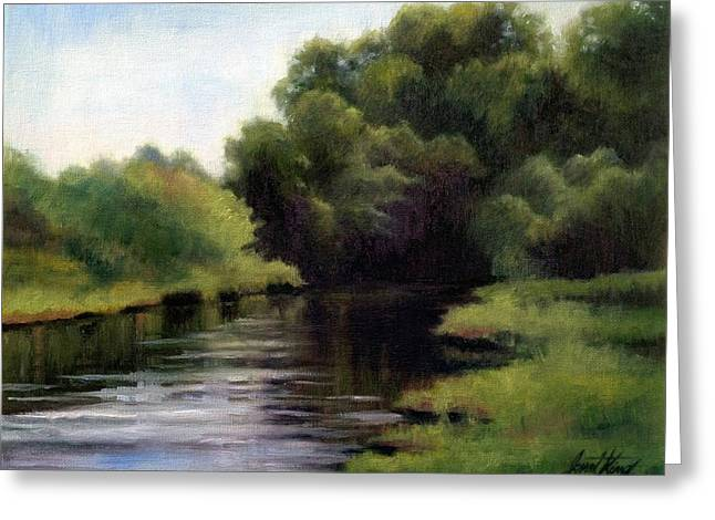 Trees Reflecting In Creek Greeting Cards - Swan Creek Greeting Card by Janet King