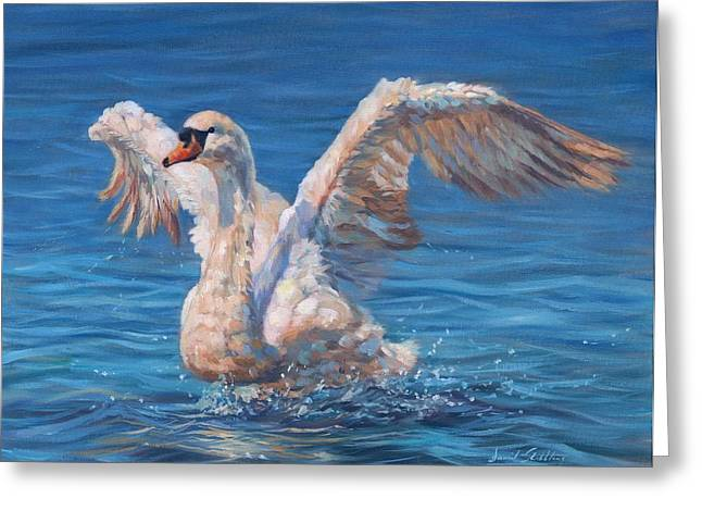 Swan Greeting Card by David Stribbling