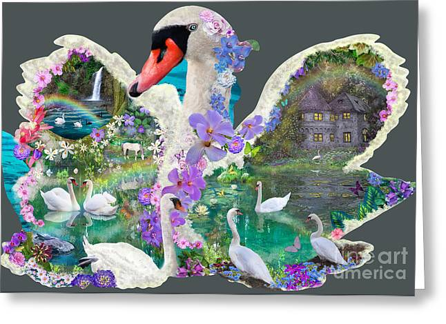Swans... Digital Art Greeting Cards - Swan Day Dream Greeting Card by Alixandra Mullins
