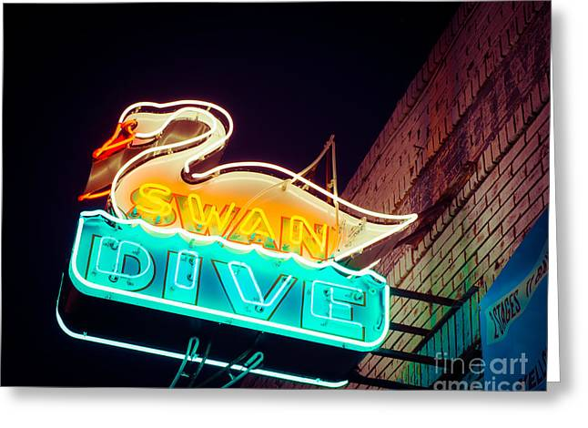 Neon Art Greeting Cards - Swan Dive Bar Greeting Card by Sonja Quintero