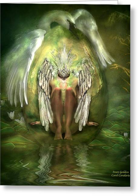 Swan Birth Art Greeting Cards - Swan Goddess Greeting Card by Carol Cavalaris