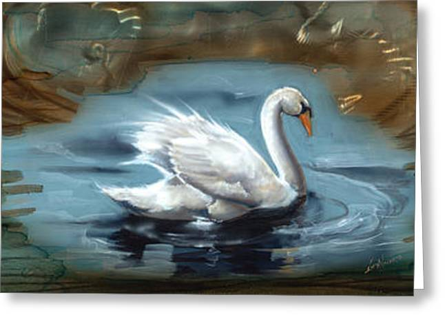 Swans... Greeting Cards - Swan Illusion Greeting Card by Luis  Navarro