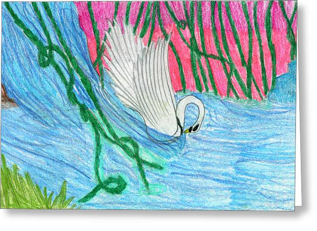 Swan Fantasy Art Greeting Cards - Super Swan Greeting Card by Kd Neeley