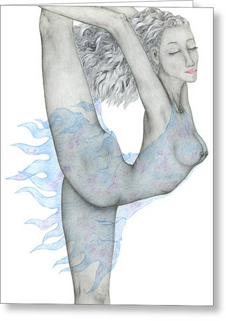 Ballet Dancers Drawings Greeting Cards - Swan. Greeting Card by Kenneth Clarke