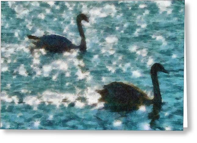 Animals Drawings Greeting Cards - Swan Lake Greeting Card by Ayse Deniz