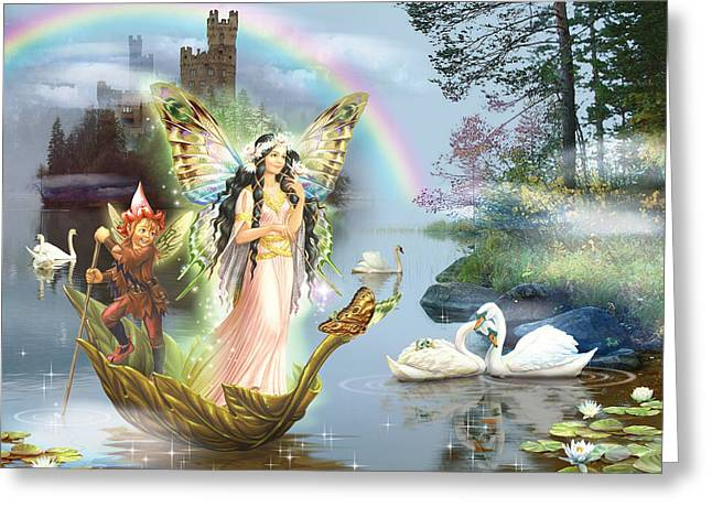 Magical Greeting Cards - Swan Lake Fairy Greeting Card by Zorina Baldescu