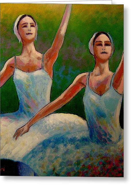 Ballet Dancers Paintings Greeting Cards - Swan Lake II Greeting Card by John  Nolan