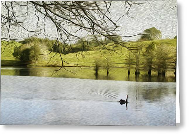 Swans... Digital Art Greeting Cards - Swan lake Greeting Card by Les Cunliffe