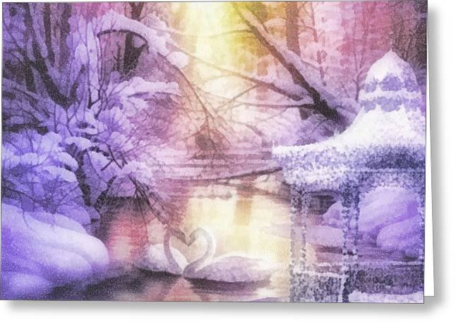 Covered Bridge Greeting Cards - Swan Lake Greeting Card by Mo T