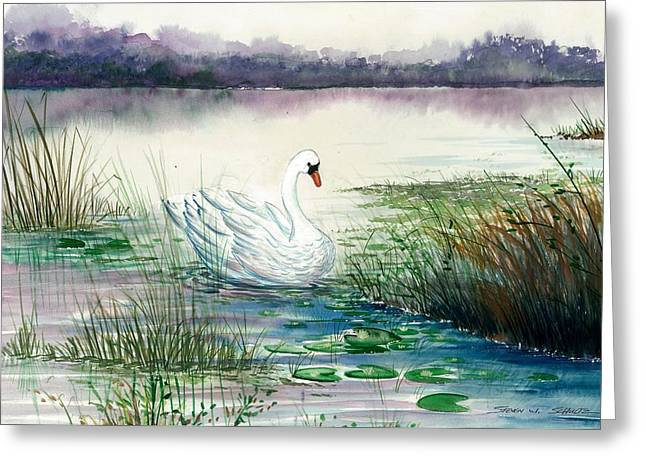 Swans... Greeting Cards - Swan Lake Greeting Card by Steven Schultz