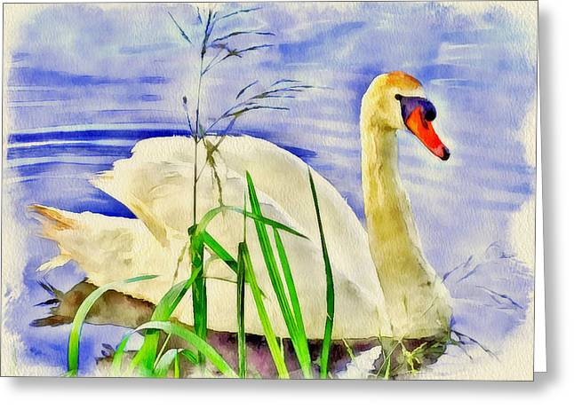 Swan Fantasy Art Greeting Cards - Swan Lake Greeting Card by Yury Malkov